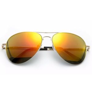 Accessories - Orange Mirrored Lens Aviators Sunglasses